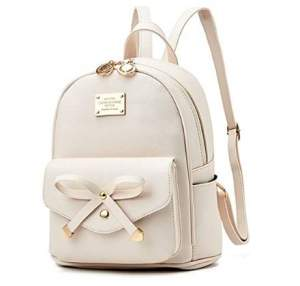 Bowknot Leather Backpack by Ihayner